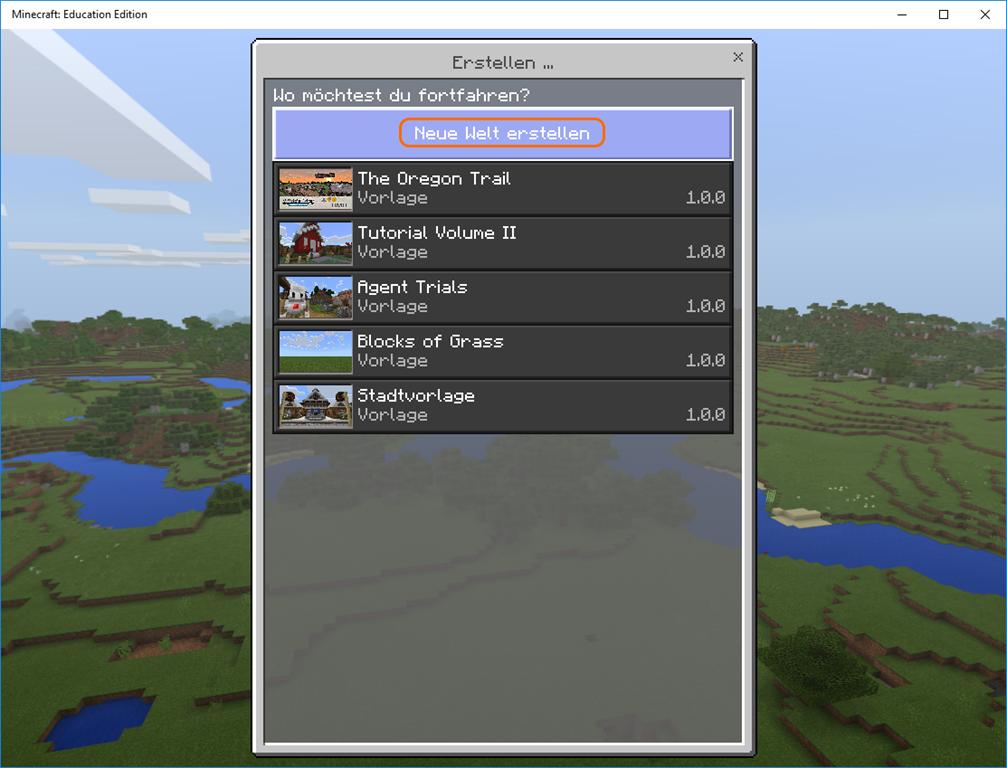 Programmieren Mit Minecraft Education Edition Ictschule - Minecraft server neue welt erstellen